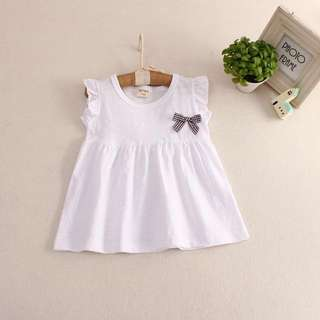 * BRAND NEW Brown Bow White Top