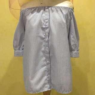 Off shoulder light blue tops