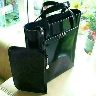 Gucci Glossy Patent Black Leather Bag