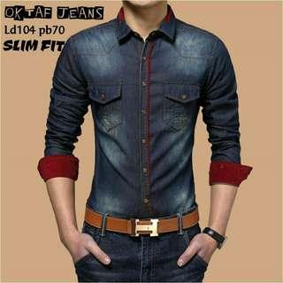 BRE.  OKTAF JEANS SLIM FIT 79.000  kemeja pria lengan panjang bahan jeans WASH ORI ld.104cm pb.70cm slimtfit PREMIUM