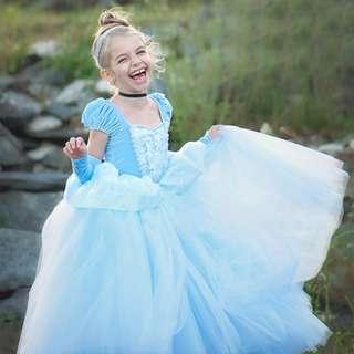 Elegant Princess Cinderella Pretty Long Dress Blue