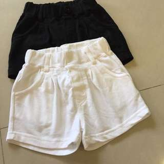 White & black shorts