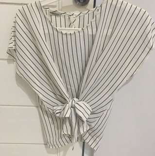 Stripy Bow Blouse