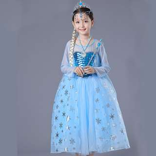 Newest Classic Princess Frozen Elsa Cosplay Costume Girl Dress 6-7y