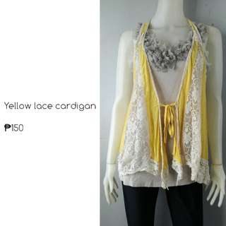 Yellow lace cardigan