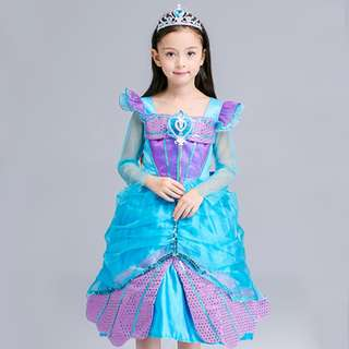 Girl Princess Ariel Mermaid Halloween Cosplay Fancy Dress Beauty Xmas Costume