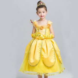 Girl Princess Belle Halloween Cosplay Fancy Dress Beauty Xmas Costume