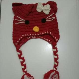 Topi Rajutan Hello kitty