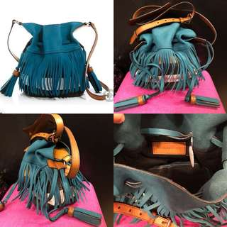 Burberry blue leather with canvas crossbody bag