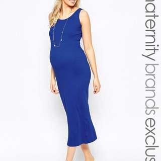 NEW LOOK Ribbed Midi Maternity Dress