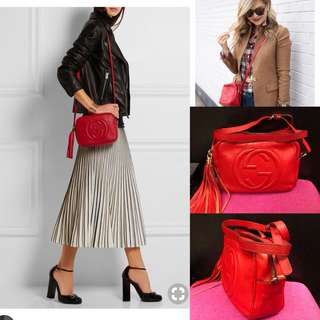 Gucci red leather with tassel crossbody bag