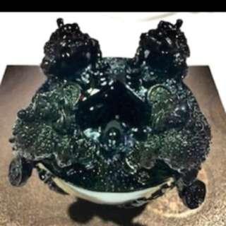 {FS138} Three Legged Toad FengShui Obsidian Bowl