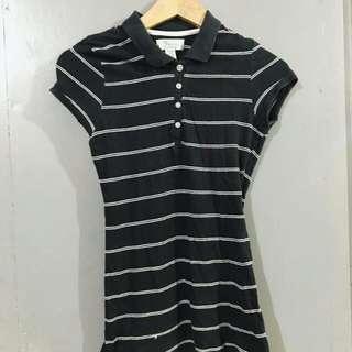 Black and white stripe polo shirt