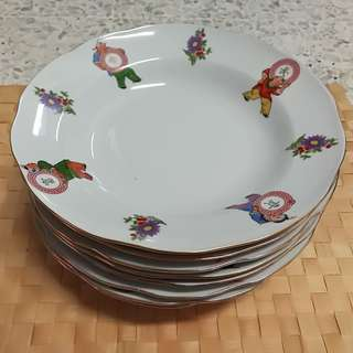 Vintage Chinese 长命富贵 Plate (8pcs/ pack)
