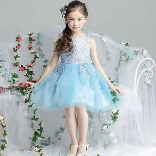 Cute Lace Sleeveless Short Tulle Flower Girl's Party Princess Dress Sky Blue