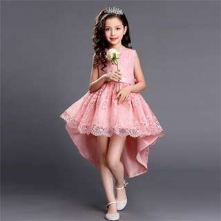 Pretty Lace Hi-Low Party Flower Birthday Dress 4-16y