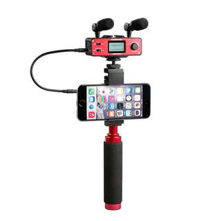 Saramonic SmartMixer - Audio Mixer/Adapter Kit for iOS/Android with Mics, Device Holder, and Grip