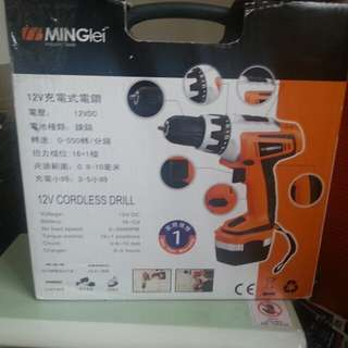 Cordless Drill with drill head set.