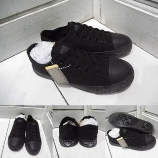 Sepatu Kets Anak Converse Allstar Chucktaylor Low Classics Canvas Fullblack Hitam