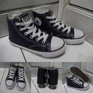 Sepatu Kets Anak Converse Allstar Chucktaylor Classics Canvas High Dark Blue Biru Tua