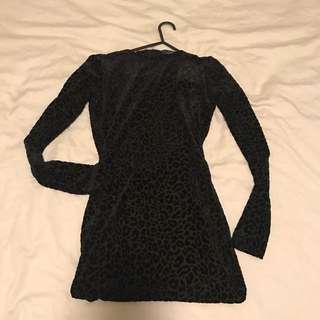 Black embossed leapord print dress
