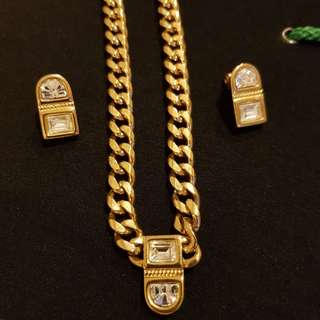 Monet Gold Necklace & Earring Set