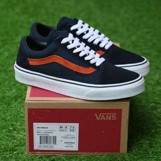VANS OLDSKOOL NAVY ORANGE PREMIUM DT BNIB MADE IN CHINA BAHAN CANVAS, RUBBER SOLE 40/41/42/43/44