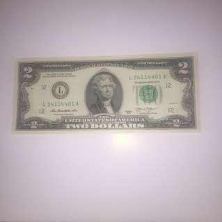 $30/張起(包平郵) 全新 罕見$2美元 美金 USD 直版 UNC