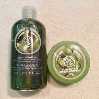 The Body Shop Olive shower gel and body butter