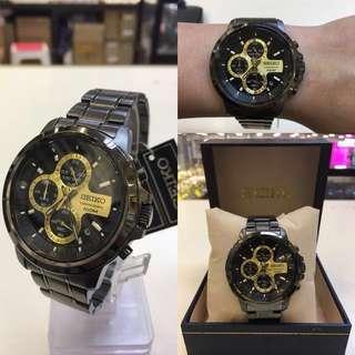 日本精工seiko黑鋼計時手錶