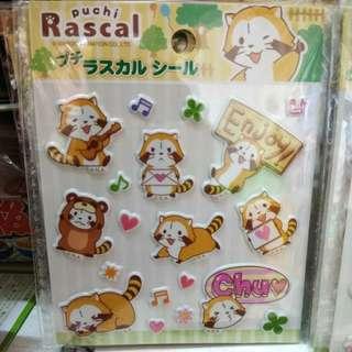 Puchi rascal小浣熊popup貼紙