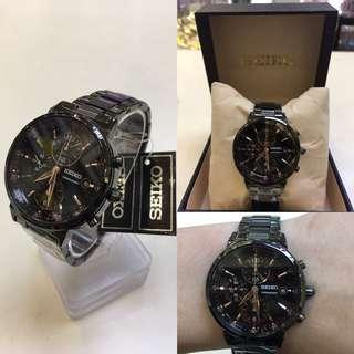 日本SEIKO精工黑鋼計時手錶