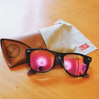 Ray-ban Black Wayfarer with Pink Violet Mirror Lenses RB2140 11744T