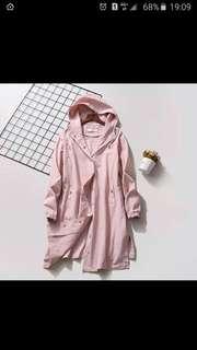 粉色連帽長版外套,可愛(大尺寸可)