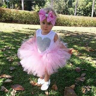 (PO) Pink Love Tutu Dress Set
