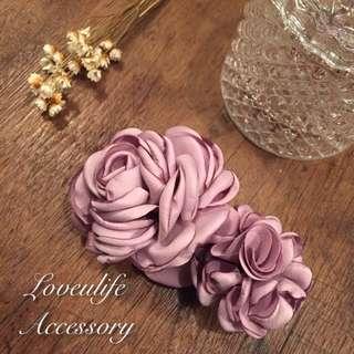 🚚 (韓國新品)大花朵邊夾 紫色