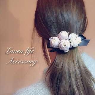🚚 (現貨新品)韓國氣質優雅珍珠花朵髮夾 粉色