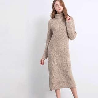 Air space 厚針織洋裝 高領毛衣洋裝