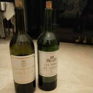 2 Wine empty bottles