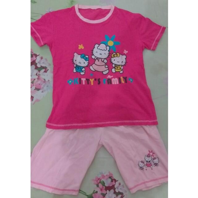 1 Set Baju Hello Kitty Pink Anak