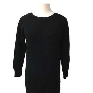 韓版黑色長版毛衣