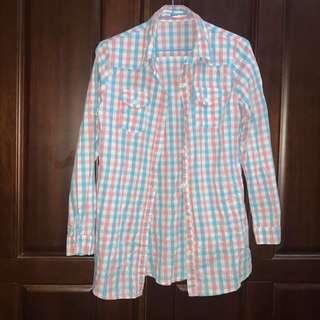 QueenShop粉藍格襯衫
