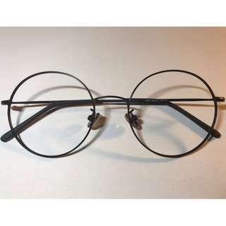 大框全圓形黑色金屬眼鏡(D3)