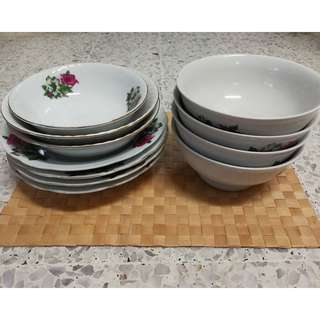 Vintage Chinese Floral Plate & Bowl (11pcs/ pack)