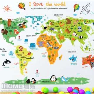 Adorable world map wall sticker