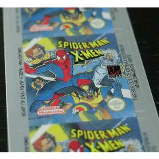 Vintage,  Spider-man X-men, Game boy Label, Nintendo