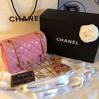 Authentic CHANEL Mini Square Pink Lambskin Classic flap bag with GHW✨