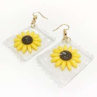特色向日葵包裝耳環 #百變女孩必備