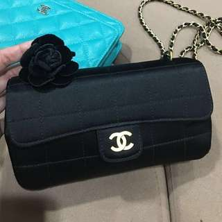 💯 Authentic CHANEL Black Quilted Satin Camellia Mini Flap
