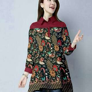 CCMC-longtop batik maroon 80.000 bahan batik prada combi wolpeach fit to Ld96cm pjg80cm